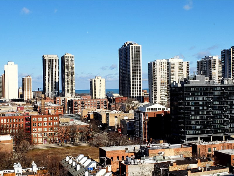 Real Estate Photography - 230 W Division, 1306, Chicago, IL, 60610 - View from Condo Balcony--Northeast