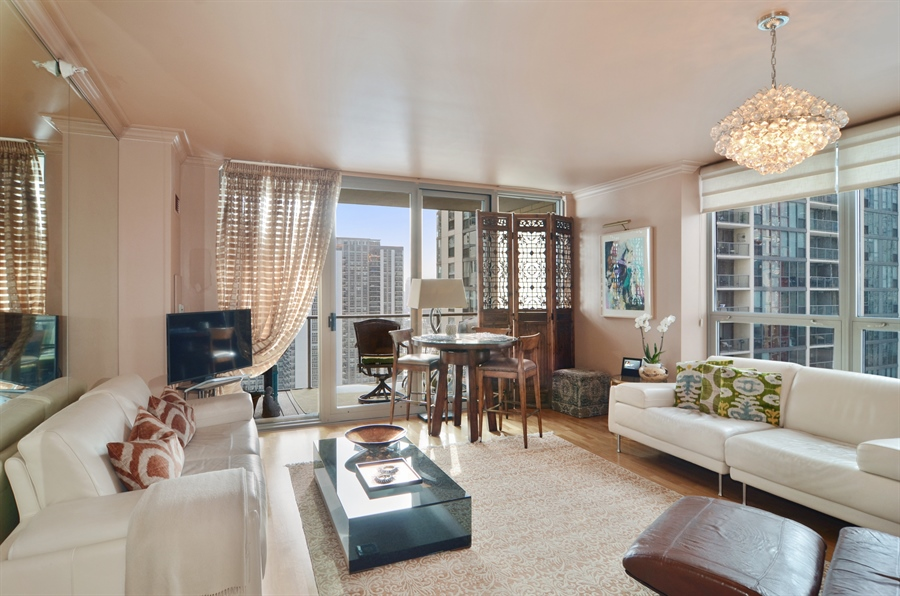 Real Estate Photography - 420 E Waterside Drive, 2403, Chicago, IL, 60601 - Living Room