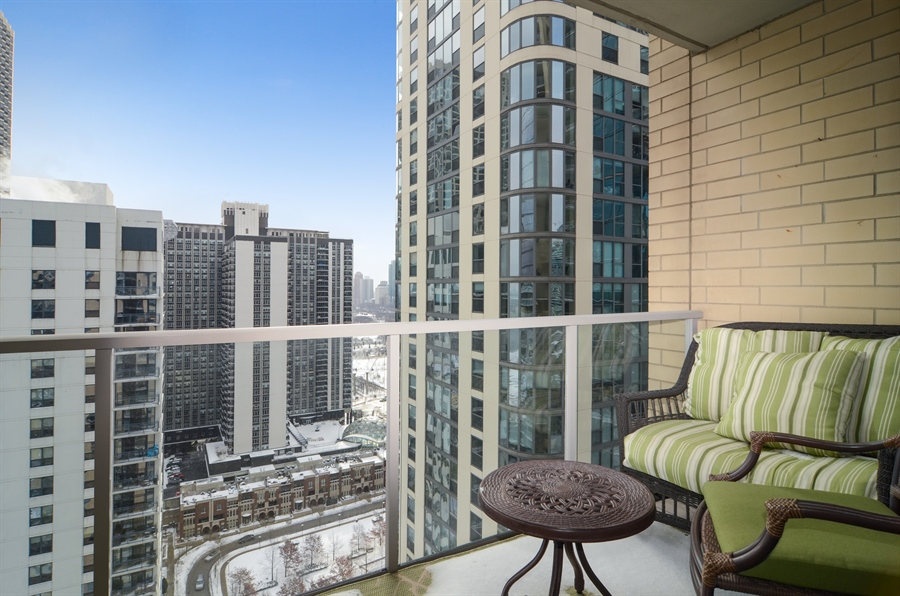 Real Estate Photography - 420 E Waterside Drive, 2403, Chicago, IL, 60601 - Balcony View