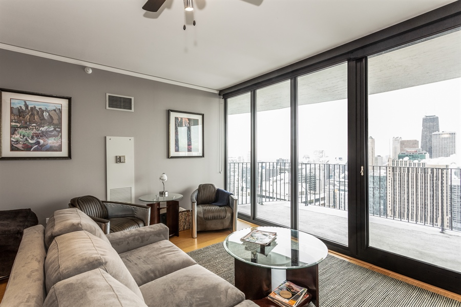 Real Estate Photography - 225 N Columbus, 5406, Chicago, IL, 60601 - Living Room