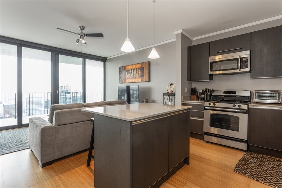 Real Estate Photography - 225 N Columbus, 5406, Chicago, IL, 60601 - Kitchen / Living Room