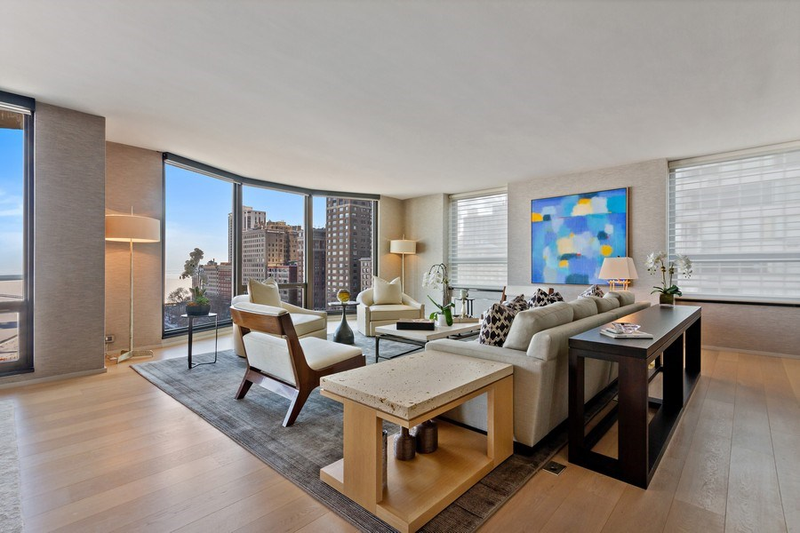 Real Estate Photography - 1040 Lake Shore Dr, Unit 15A, Chicago, IL, 60611 - Living Room With Lake & East LSD Views