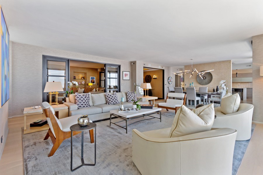 Real Estate Photography - 1040 Lake Shore Dr, Unit 15A, Chicago, IL, 60611 - Living Room  Dining Room