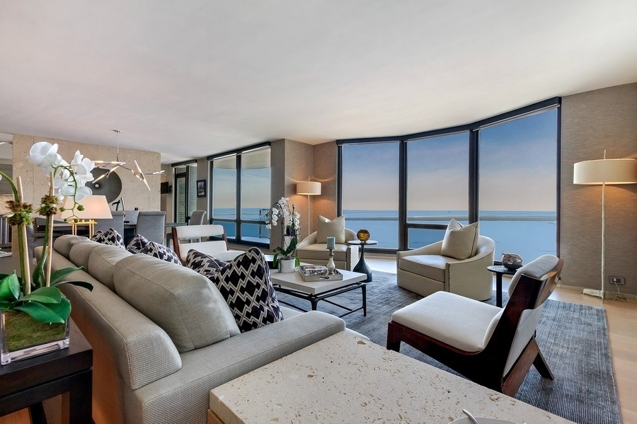 Real Estate Photography - 1040 Lake Shore Dr, Unit 15A, Chicago, IL, 60611 - Living Room With East Vistas