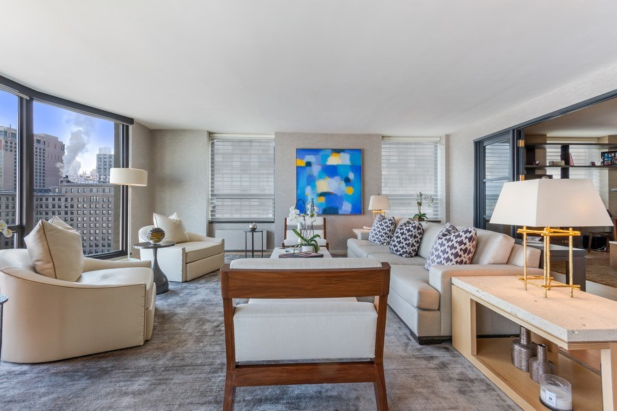 Real Estate Photography - 1040 Lake Shore Dr, Unit 15A, Chicago, IL, 60611 - Living Room