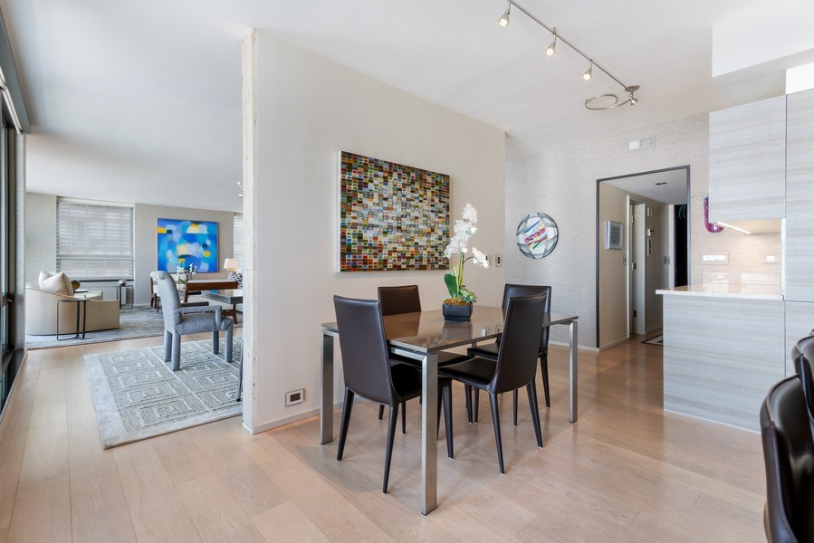 Real Estate Photography - 1040 Lake Shore Dr, Unit 15A, Chicago, IL, 60611 - Kitchen Dining