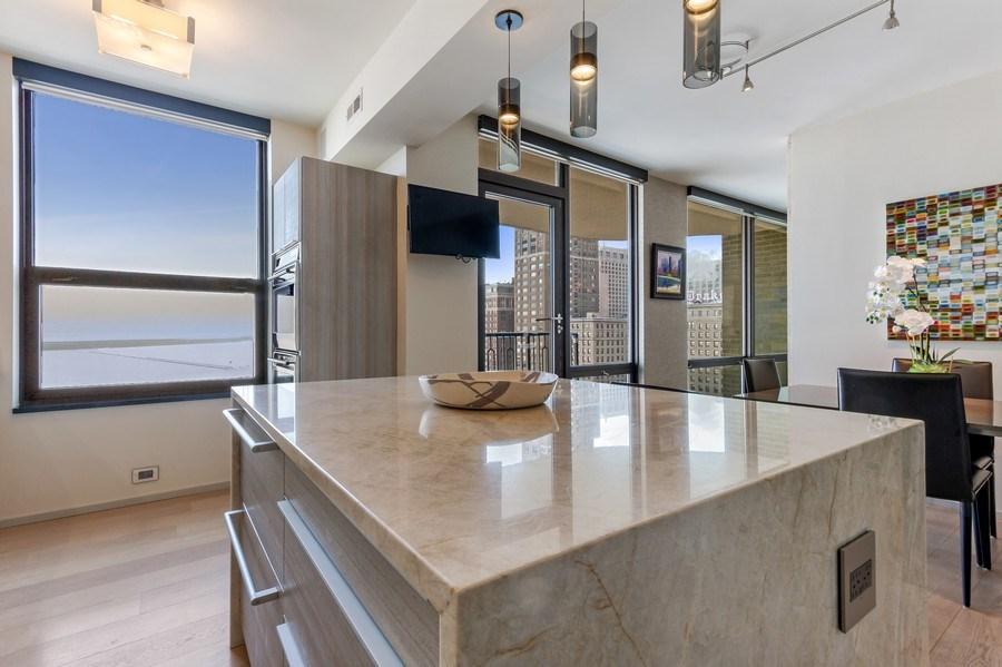 Real Estate Photography - 1040 Lake Shore Dr, Unit 15A, Chicago, IL, 60611 - Kitchen Centre Island