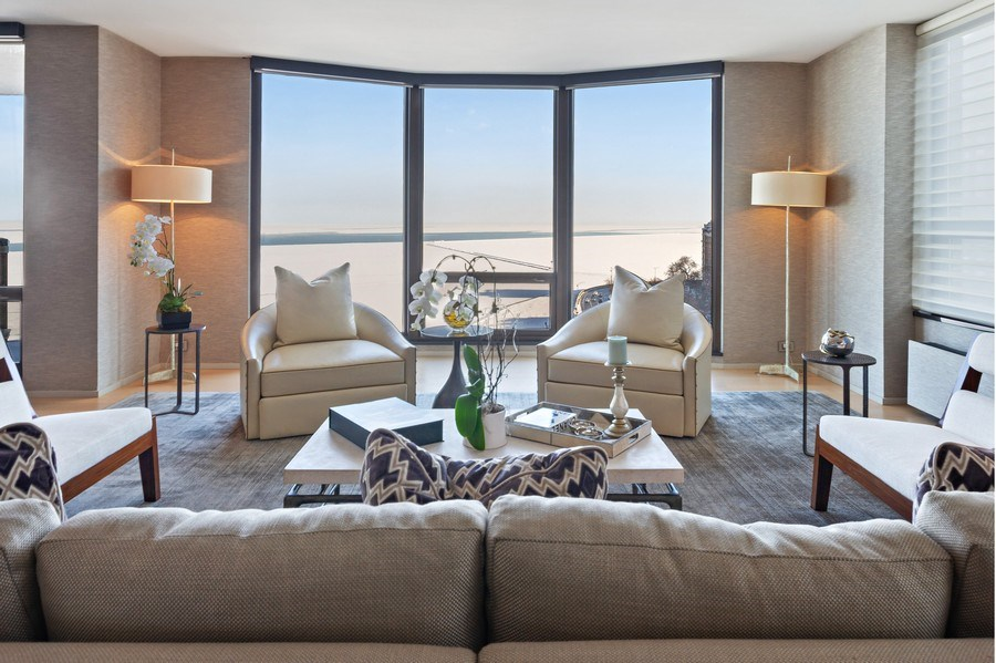 Real Estate Photography - 1040 Lake Shore Dr, Unit 15A, Chicago, IL, 60611 - LIving Room With East Lake Views
