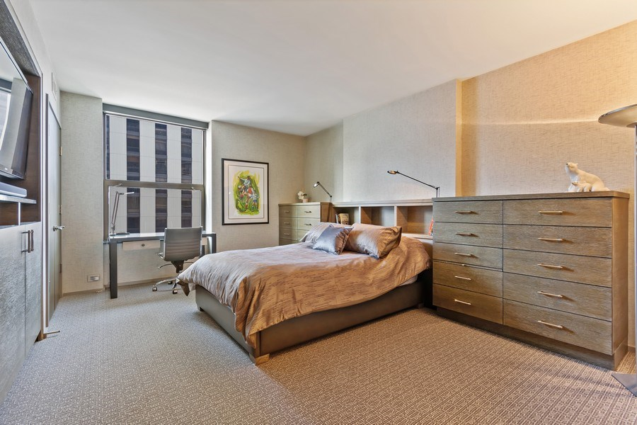 Real Estate Photography - 1040 Lake Shore Dr, Unit 15A, Chicago, IL, 60611 - 2nd Bedroom