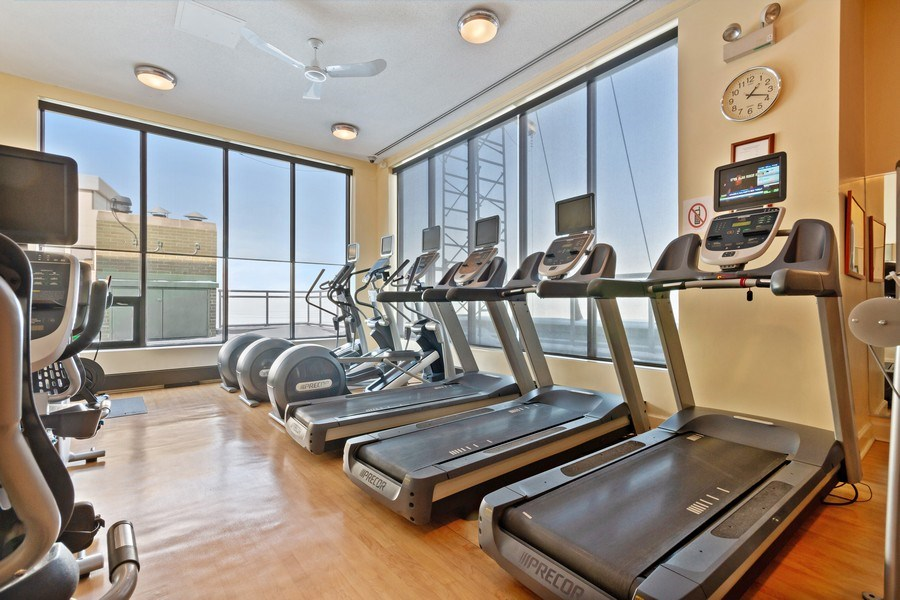 Real Estate Photography - 1040 Lake Shore Dr, Unit 15A, Chicago, IL, 60611 - Exercise Room