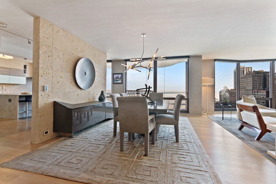 Real Estate Photography - 1040 Lake Shore Dr, Unit 15A, Chicago, IL, 60611 - Dining Room