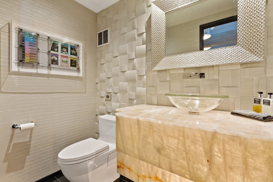 Real Estate Photography - 1040 Lake Shore Dr, Unit 15A, Chicago, IL, 60611 - Powder Room