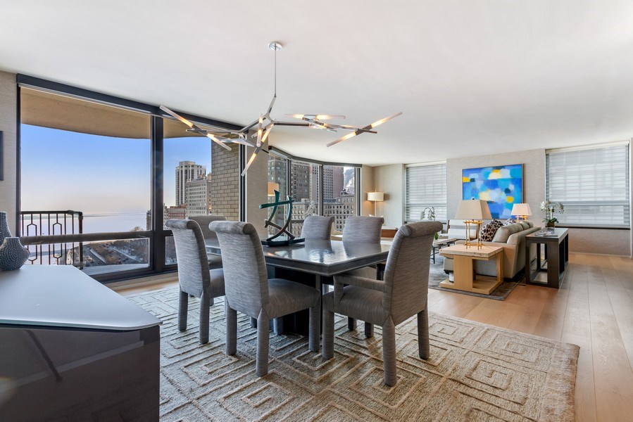 Real Estate Photography - 1040 Lake Shore Dr, Unit 15A, Chicago, IL, 60611 - Living Room / Dining Room