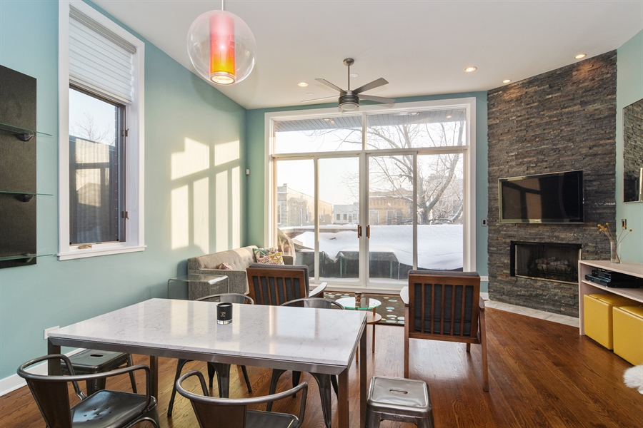 Real Estate Photography - 2020 W Iowa, 3E, Chicago, IL, 60622 - Living Room / Dining Room