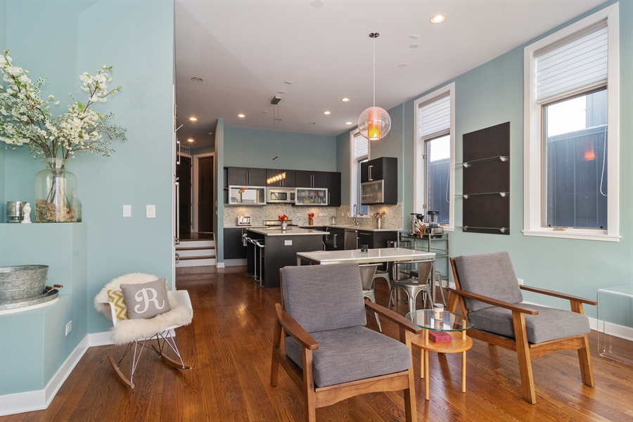 Real Estate Photography - 2020 W Iowa, 3E, Chicago, IL, 60622 - Living Room/Dining Room