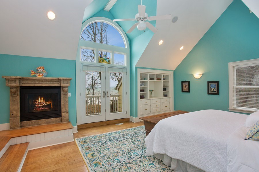 Real Estate Photography - 13173 Sunset Point, New Buffalo, MI, 49117 - Master with Fireplace & Lake View