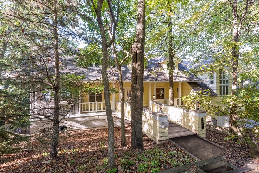 Real Estate Photography - 13173 Sunset Point, New Buffalo, MI, 49117 - Home Exterior with Walking Bridge to Porch & Front
