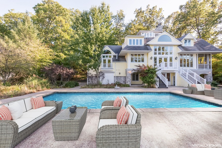 Real Estate Photography - 13173 Sunset Point, New Buffalo, MI, 49117 - Rear Exterior & Salt Water Pool Overlooking Lake