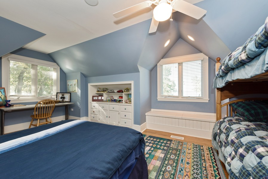 Real Estate Photography - 13173 Sunset Point, New Buffalo, MI, 49117 - Bedroom 5 with Lake View & Window Seat