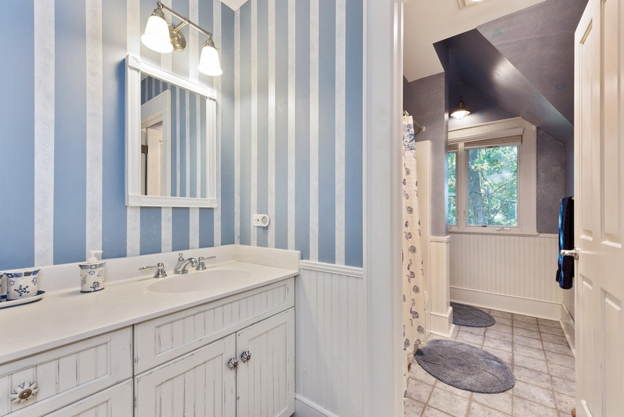 Real Estate Photography - 13173 Sunset Point, New Buffalo, MI, 49117 - 2nd Upstairs Bath- Separate Vanity & Shower Area