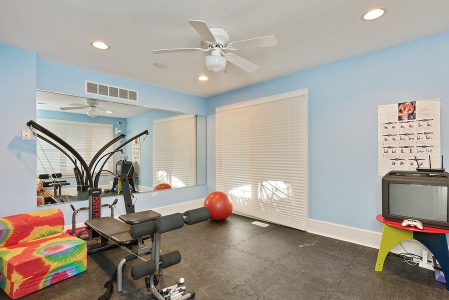 Real Estate Photography - 13173 Sunset Point, New Buffalo, MI, 49117 - Workout Room with Mirrored Wall