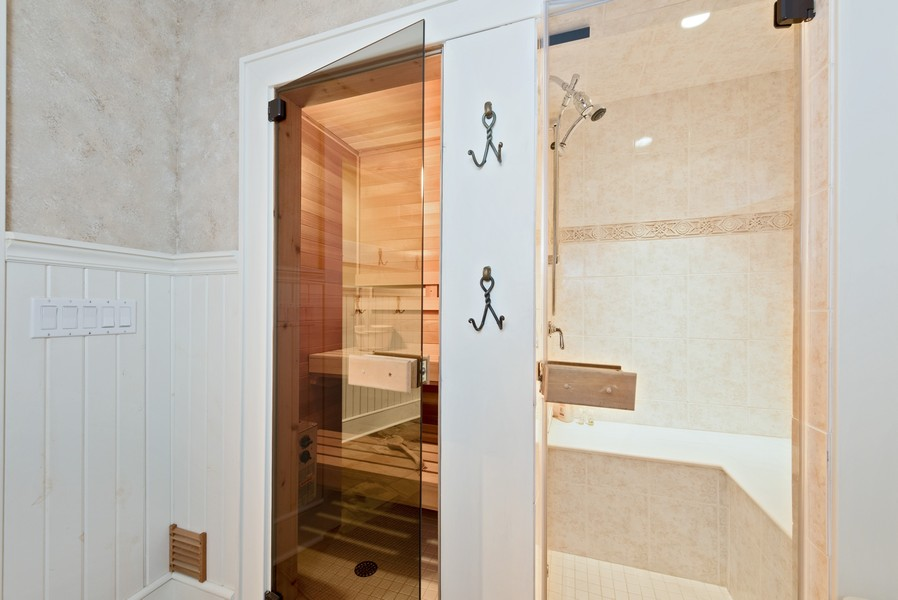 Real Estate Photography - 13173 Sunset Point, New Buffalo, MI, 49117 - Sauna & Steam Room Adjacent to Pool Area
