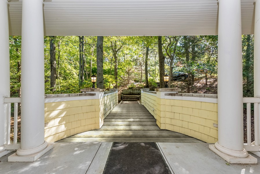 Real Estate Photography - 13173 Sunset Point, New Buffalo, MI, 49117 - View From Front Door Across Walking Bridge