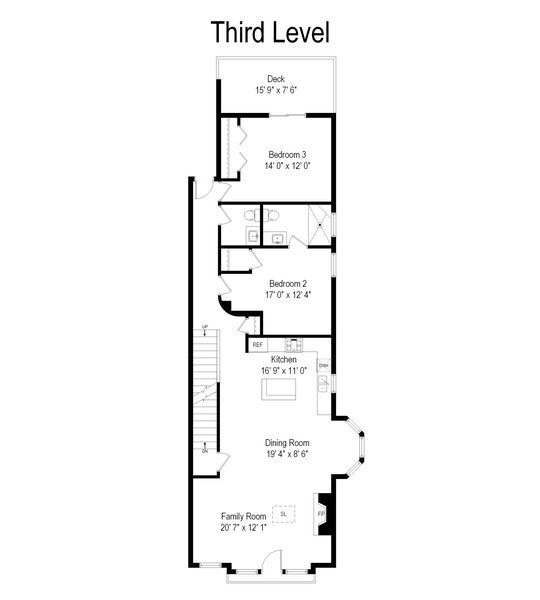 Real Estate Photography - 1541 N. North Park Avenue, #3S, Chicago, IL, 60610 - Floor Plan