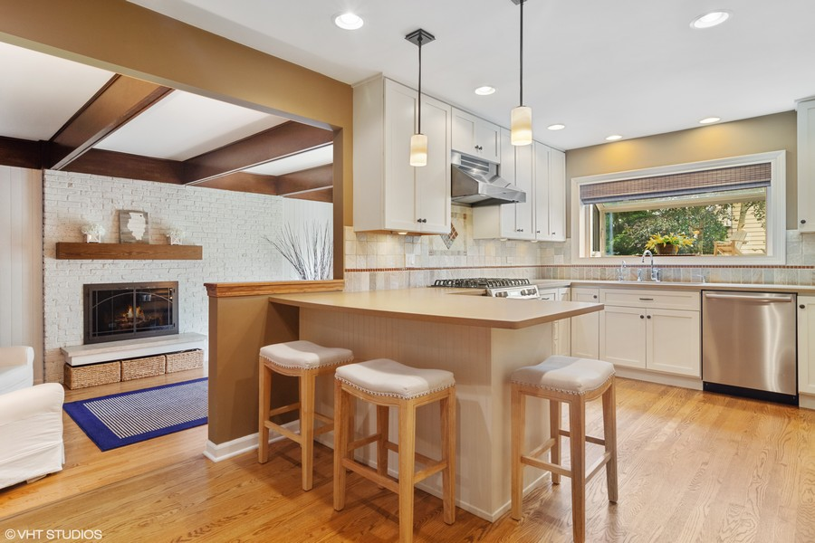 Real Estate Photography - 133 N Rammer, Arlington Heights, IL, 60004 - Kitchen into Family Room