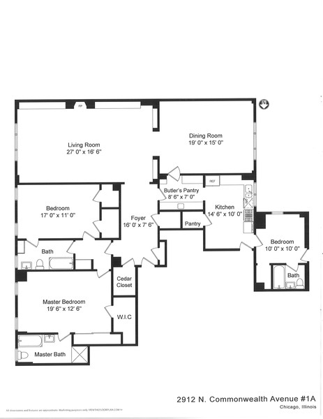 Real Estate Photography - 2912 N Commonwealth, Unit 1A, Chicago, IL, 60657 - Floorplan