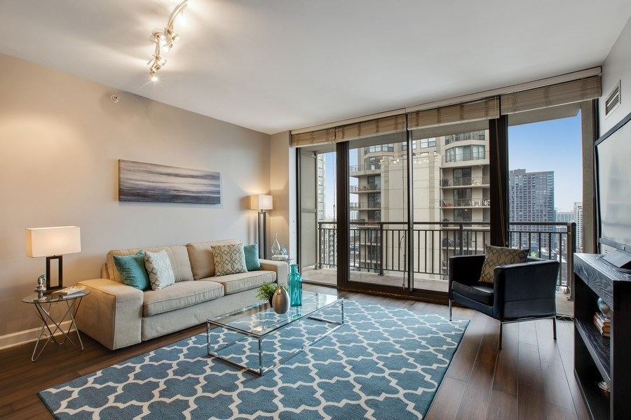 Real Estate Photography - 630 N State, Unit 2410, Chicago, IL, 60611 - Living Room