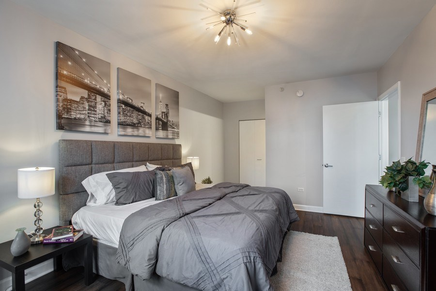 Real Estate Photography - 630 N State, Unit 2410, Chicago, IL, 60611 - Master Bedroom