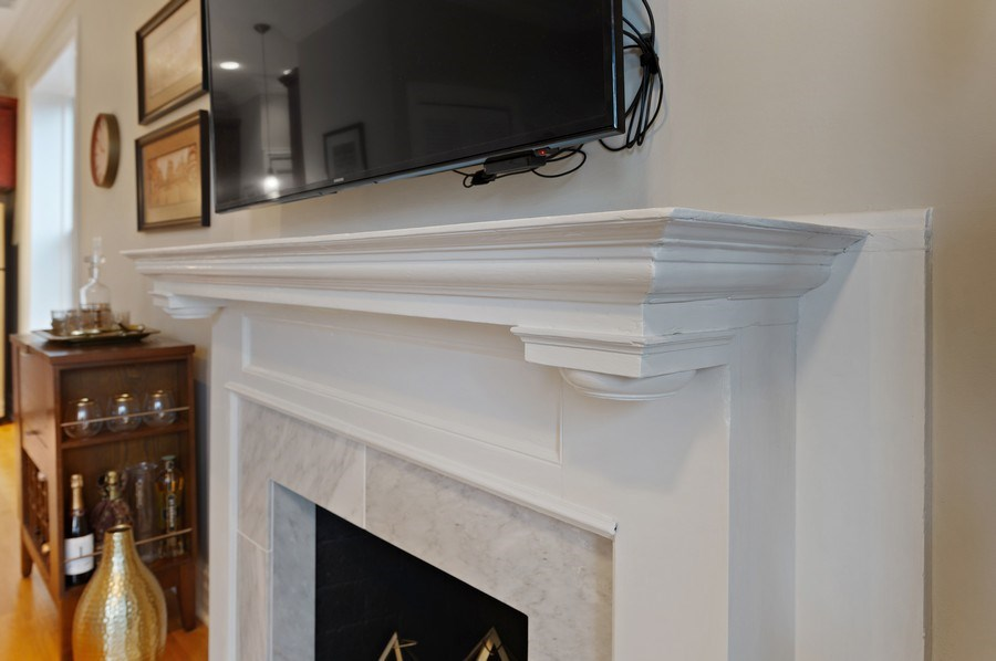 Real Estate Photography - 1701 N Crilly Court, 3W, Chicago, IL, 60614 - Fireplace Detail