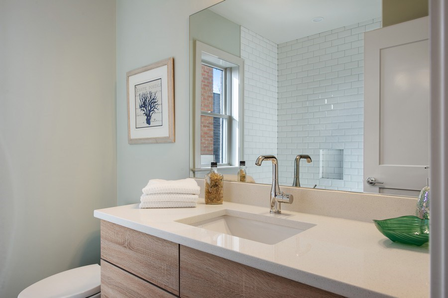 Real Estate Photography - 3828 N. Racine #2, Chicago, IL, 60613 - 2nd Bathroom
