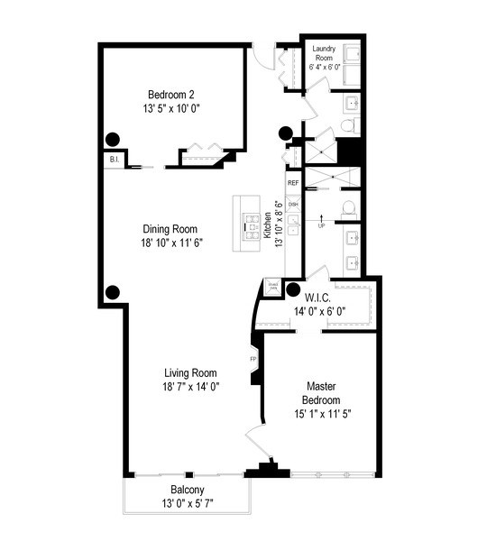 Real Estate Photography - 728 W. Jackson Blvd., Unit 1003, Chicago, IL, 60661 - Floor Plan