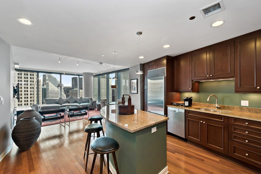 Real Estate Photography - 60 e monroe #3507, Chicago, IL, 60603 - Kitchen / Living Room