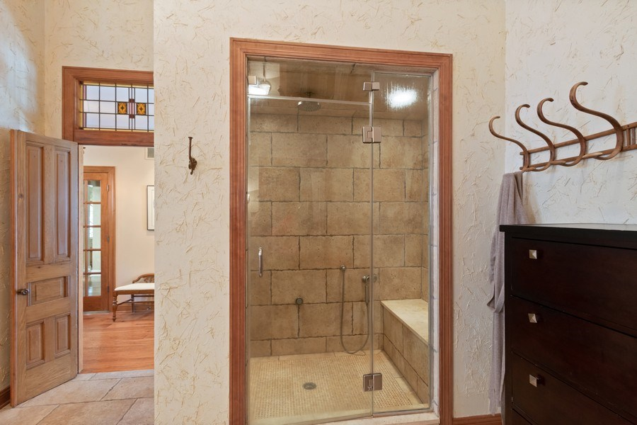 Real Estate Photography - 25130 N Cayuga Trail, Lake Barrington, IL, 60010 - Steam Shower with Frameless Shower Door