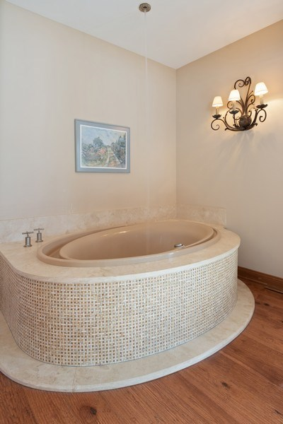 Real Estate Photography - 25130 N Cayuga Trail, Lake Barrington, IL, 60010 - Dramatic Bubble Tub with Ceiling Water Fill Valve