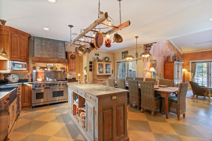 Real Estate Photography - 25130 N Cayuga Trail, Lake Barrington, IL, 60010 - Antique French Island with Zinc Counter