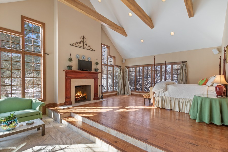 Real Estate Photography - 25130 N Cayuga Trail, Lake Barrington, IL, 60010 - Master Retreat with Beamed Ceiling & Romantic Fire