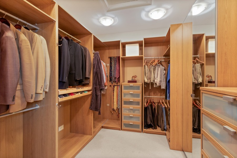 Real Estate Photography - 25130 N Cayuga Trail, Lake Barrington, IL, 60010 - Master Bedroom Closet (His)