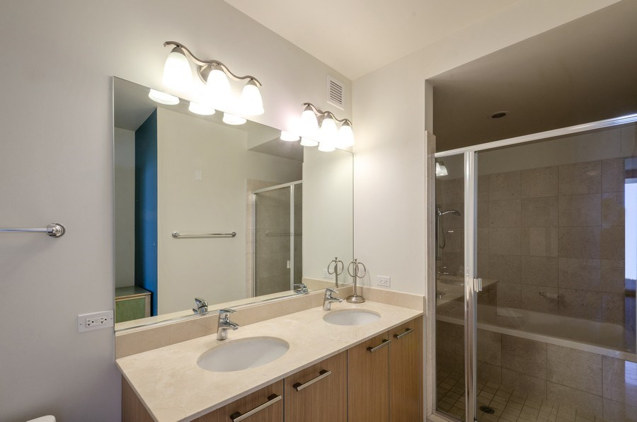 Real Estate Photography - 225 N Columbus, Unit 5804, Chicago, IL, 60601 - Master Bathroom