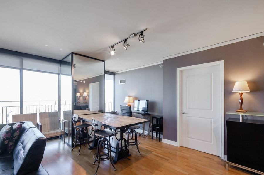 Real Estate Photography - 225 N Columbus, Unit 5804, Chicago, IL, 60601 - Dining Room