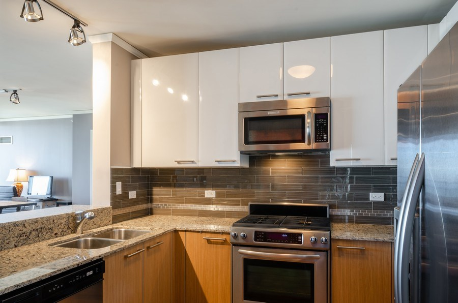 Real Estate Photography - 225 N Columbus, Unit 5804, Chicago, IL, 60601 - Kitchen