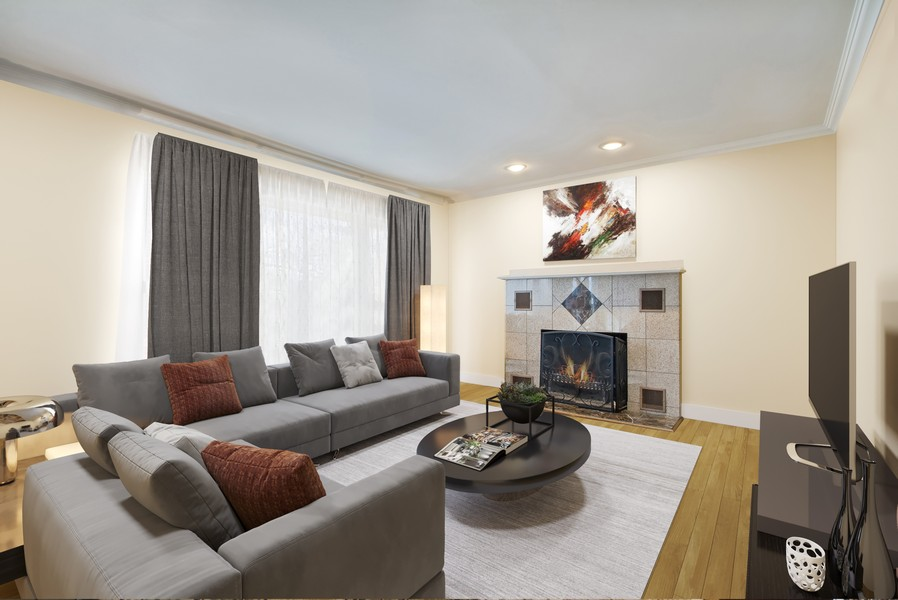 Real Estate Photography - 3508 Countryside Ln, Glenview, IL, 60025 - Virtually Staged Living Room