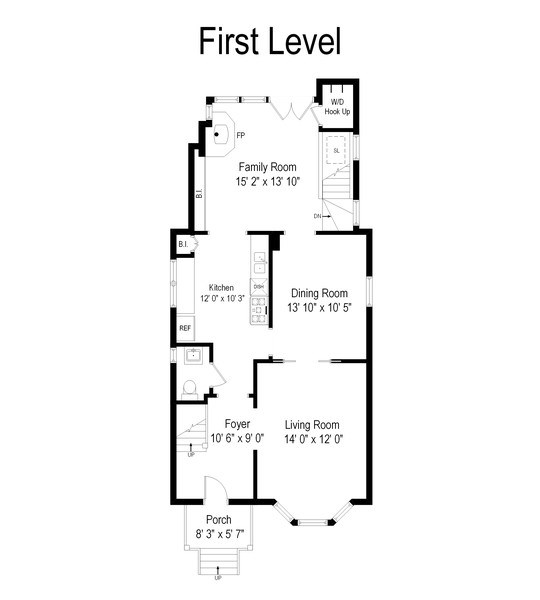 Real Estate Photography - 2129 W. Bradley, Chicago, IL, 60618 - Floor Plan