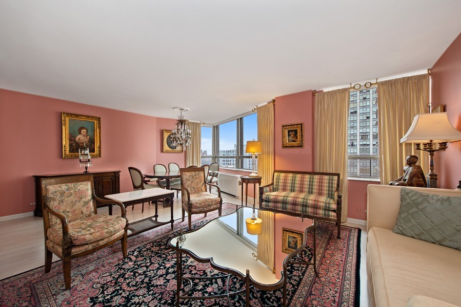 Real Estate Photography - 5701 N Sheridan, Unit 8F, Chicago, IL, 60660 - Living Room/Dining Room