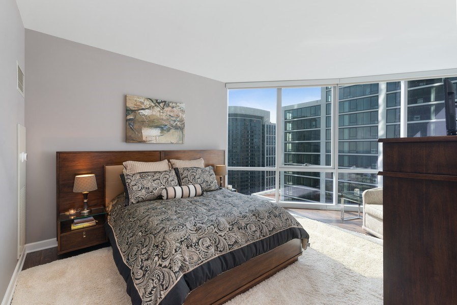 Real Estate Photography - 1201 S Prairie, 3101, Chicago, IL, 60605 - 2nd Bedroom with en-suite