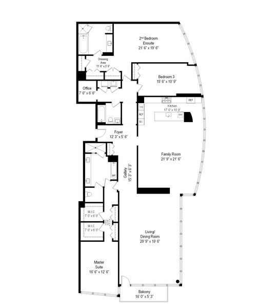 Real Estate Photography - 1201 S Prairie, 3101, Chicago, IL, 60605 - Floor Plan