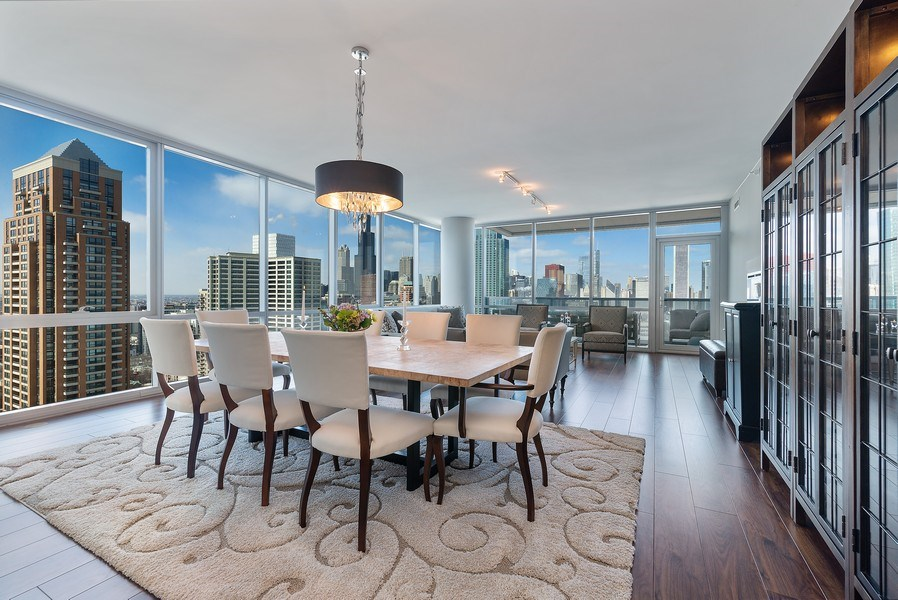 Real Estate Photography - 1201 S Prairie, 3101, Chicago, IL, 60605 - Living Room/Dining Room